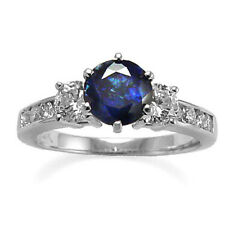 14K GOLD NATURAL SAPPHIRE AND DIAMOND ENGAGEMENT RING Ring Sizes 4 to 9.5 #R512