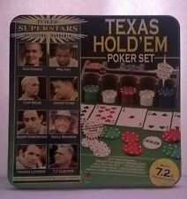 Texas Holdem Poker Set in metal tin 7.2G chips, rack, mat, instructions and tips