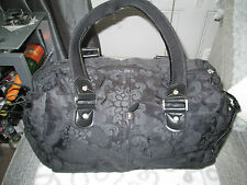 FIVER LONDON - BLACK FLORAL BAG ZIP FASTNING MEDIUM SIZE TWO STRAP HANDBAG