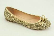 NEW Kate Spade Willa Gold Glitter and Leather Flats sz 5.5 Ballet Shoes