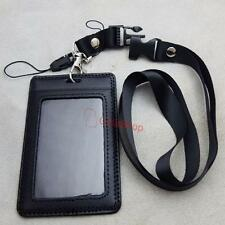 Genuine leather ID Card Holder Vertical Strap Lanyard for Retractable Badge I105