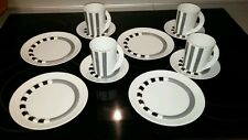 12pc Rosenthal STRADA COFFEE DESSERT SET * Memphis Style * BLACK GRAY GEOMETRIC