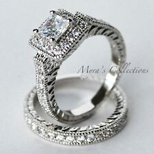 3.9CT ART DECO HALO BRIDAL WEDDING ENGAGEMENT RING BAND SET WOMEN'S SIZE 5