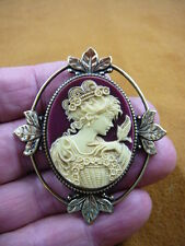 (cm26-28) FEMININE LADY + bird Resin burgundy CAMEO jewelry Pin Pendant POPULAR