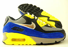 WMNS NIKE AIR MAX 90 MEDIUM GREY-SILVER-BLACK-BLUE-YELLOW SZ 11.5 [325213-025]