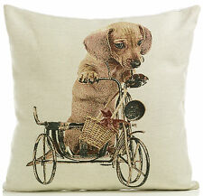"Sausage Dog 18"" Tapestry Cushion Cover Retro Vintage Print  BNWT"