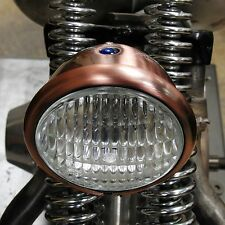 "OLD SCHOOL 4"" HEAD LIGHT BRASS/BRONZE FINISH & CLEAR LAMP HARLEY BOBBER CHOPPER"
