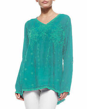 NWT Johnny Was 1X Women's Plus Size VINE Embroidered Tunic Top TEAL