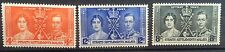 Singapore Straits Settlements 1937 Coronation stamp set 3v Mounted Mint