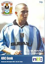 COVENTRY CITY V KRC GENK International Friendly 30 August 2000 VGC