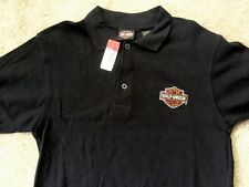 Harley Davidson Bar and Shield black polo Shirt Nwt Men's Small