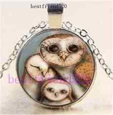 Three Pretty Owls Cabochon Glass Silver Chain Pendant Necklace