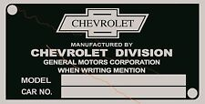 CHEVROLET DATA PLATE SERIAL NUMBER ID TAG VIN