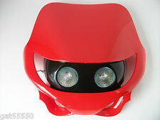 NEW RED MOTORCYCLE HEADLIGHT STREETFIGHTER ENDURO GSXR XR CR CRF XL CCM EC CBR