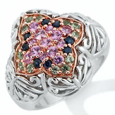 Victoria Wieck 1.01ct Colors of Sapphire Domed 2-Tone Ring Sz 7