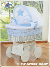 **NEW LARGE WICKER CRIB WITH STAND, BEDDING & MATTRESS - gingham blue & white