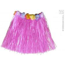 Childrens Pink Grass Skirt Hawaiian Fancy Dress Hula Girl Belt