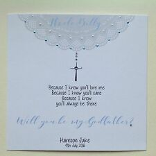 """PERSONALISED Handmade CHRISTENING """" Will You Be My GODFATHER ? """" Card"""