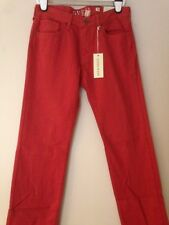 "NWT MENS GUESS LOS ANGELES LINCOLN SLIM STRAIGHT ""FADED RED""  JEANS W32 L32"