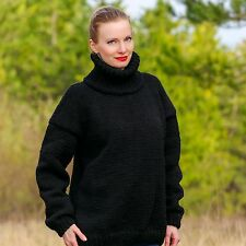 SUPERTANYA Hand Knitted Wool Sweater BLACK Non Mohair Handmade Pullover SALE