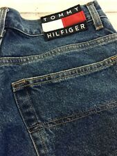 """Vtg Tommy 29"""" High Waist 12"""" Rise Hilfiger Jean Shorts Freedom Spell Out Mom"""