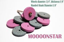 "10pcs Grinding Stone Wheel Set 3/4"" Aluminum Oxide Silicon Carbide with Mandrel"