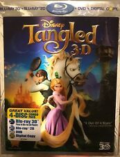 Disney's Tangled (Blu-ray 2D/3D/DVD/Digital,4-Disc Set) NEW W/ LINTICULAR COVER