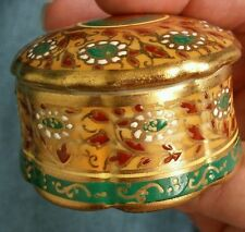 Hand painted Covered Trinket Box from Thailand! Beautiful Green Yellow Gold