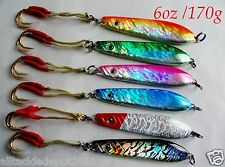 Knife Jigs 6 Pieces 6oz/170g Vertical Butterfly Saltwater Lures + FREE LURE BAG