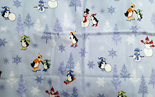 PENGUIN SNOWMAN TREES 2 FLANNEL STANDARD PILLOWCASES COTTON WINTER HOLIDAY DECOR