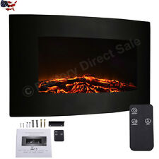 Large 1500W Adjustable Electric Wall Mount Fireplace Heater Remote Control