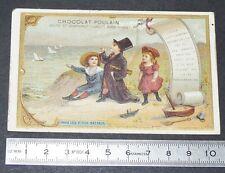 CHROMO CHOCOLAT POULAIN 1890-1910 PAPA LES P'TITS BATEAUX COMPTINE ENFANTS