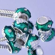 Green european murano glass beads sterling silver plated charms for bracelets