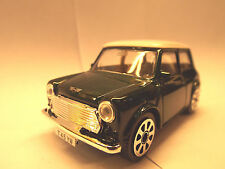 "Diecast cars ""  MINI COOPER 1969 IN GREEN AND WHITE  ""  1/43  Scale model"