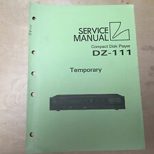 Original Luxman Temporary Service Manual for the DZ-111 CD Player ~ Repair
