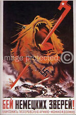 Slain Lion Vintage Russian WWII Military Army Poster 18x24