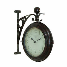 Benzara Metal Wall 2 Side Clock Designed With Antique Look 42807 NEW