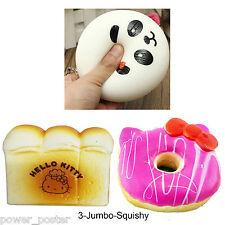 Random 3Pcs Jumbo Panda Toast Hello Kitty Donut Red Bow Pillow Squishy Straps