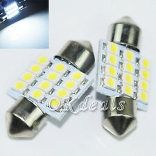 2* White 31mm 12 LED SMD Festoon Dome Car Bulb 3021 3022 DE3175 Light Lamp