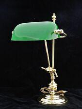 Bankerslampe Tischlampe aus Messing mit grünem Glasschirm (3900)
