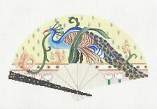 Elegant Oriental Peacock FAN handpainted Needlepoint Canvas by Sophia Design