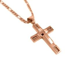 Mens Stainless Steel Rose Gold Pendant Cross Necklace with 24 Inch Figaro Chain