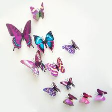 3D Purple Butterfly Wall Stickers Wall Decors Wall Art Decals for Girl QT06