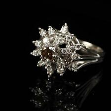 White Gold 14K Diamond Cluster Floral Estate Ring with Central Round C... Lot 62