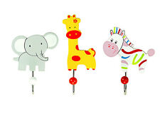 Childrens Kids Baby Set Safari Animal Coat Hooks Wall Boys Girls Nursery Bedroom