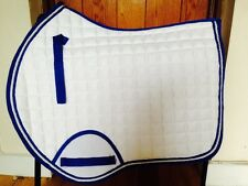 Quality Quilted White With Royal Blue  Edging Saddle Pad - Size Pony