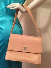 Authentic Chanel quilted peach leather shoulder purse