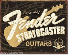 Fender Stratocaster Guitar Poster Large Vintage Weathered Metal Tin Sign PN 1994
