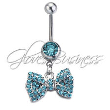 1pc Aqua Bowknot Surgical Steel Body Piercing Navel Belly Ring Stud Bar