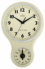 Acctim Vintage Retro Cream Kitchen Wall Clock With Kitchen Timer - BRAND NEW!